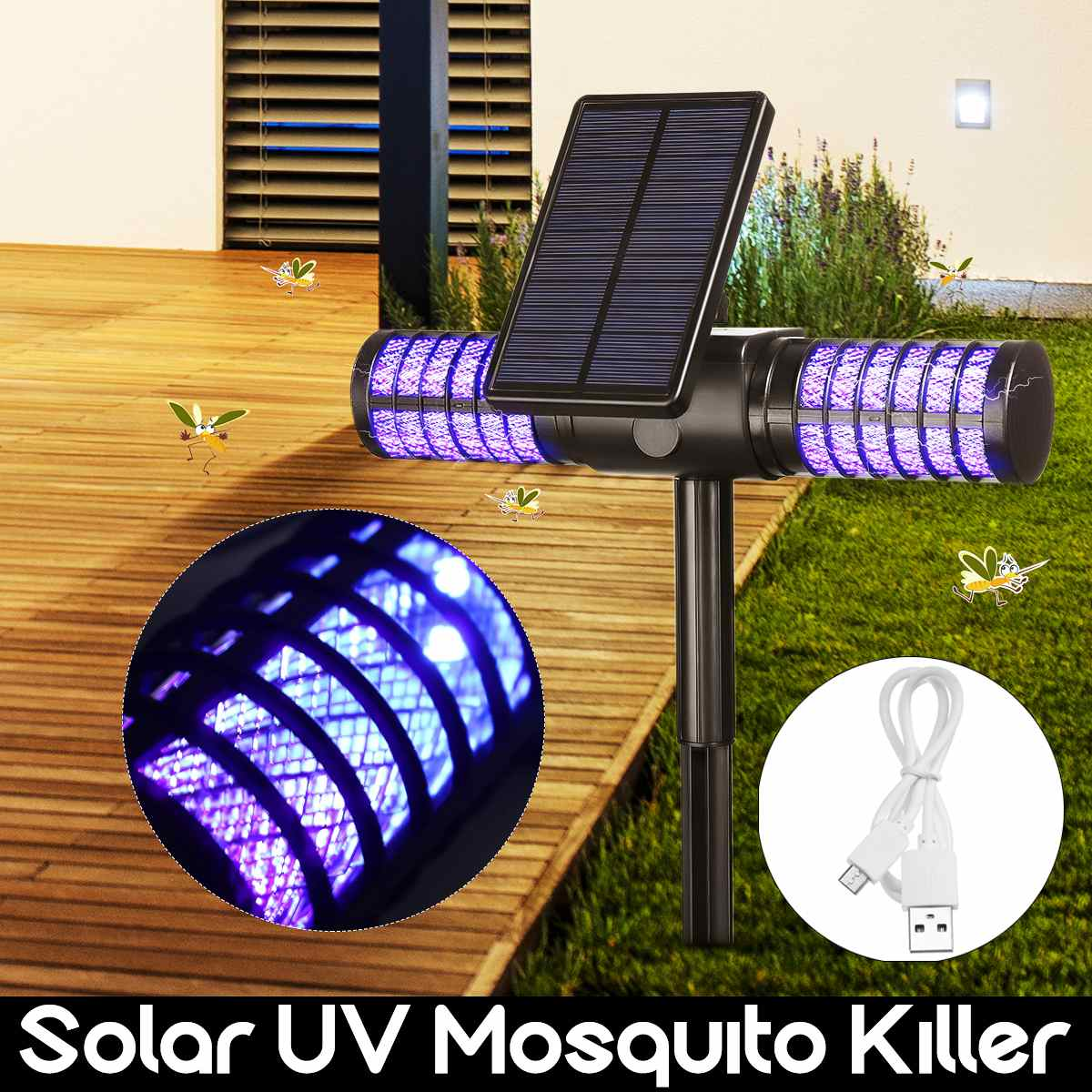 Outdoor Garden Mosquito Killer UV LED Lamp IP65 Waterproof Insect Trap Light Solar/USB Charging Automatic Switch Mosquito