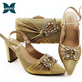 New Fashion Italian design Shoes with Matching Bags Set High Heel Sandal Women Summer Shoes African Wedding Shoe and Bag Set