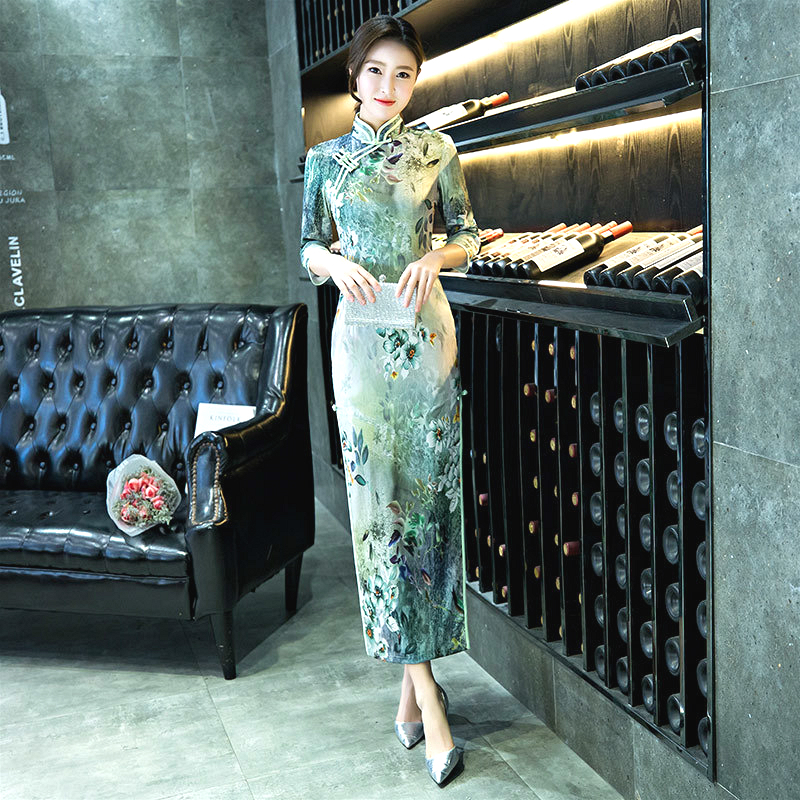 Sheng Coco 4XL Seven Sleeve Elegant Qipao Dresses Evening Gauze Dress Pretty Green Cheongsam Dress Women Chinese Vintge Costume