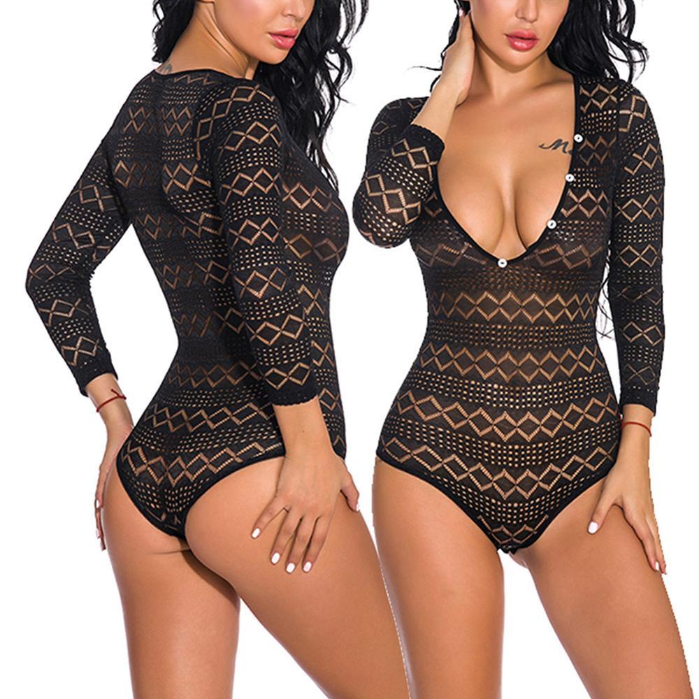 2020 New Summer Lace Bodysuit Women Black Long Sleeve Sexy Bodysuit Ladies Hollow Out Bodycon Bodysuit Jumpsuit Overalls