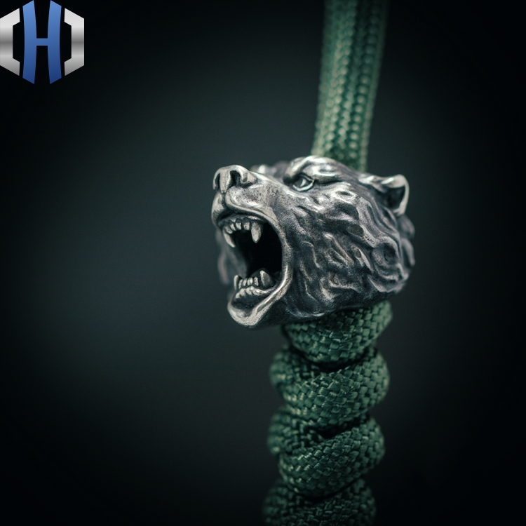Original Handmade Bear Head Knife Pendant Outdoor EDC Umbrella Rope Pendant Survival Paracord Beads