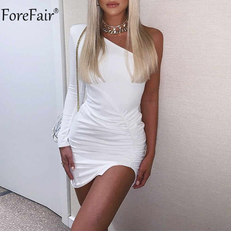 Forefair Een Schouder Wit Party Dress Bodycon Vrouwen Ruches Backless Side Slit Sexy Club Zwart Herfst Winter Mini Jurken