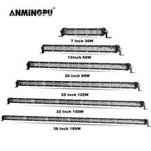 ANMINGPU Slim Off Road LED Bar 12V 24V Spot Beam LED Light Bar 30W 60W 90W 120W 150W