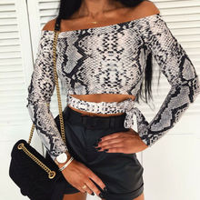 Ladies Women Sexy Club Off Shoulder Long Sleeve Slash Neck Python Snakeskin Pattern Print Slim Fit Hollow Out Lace Up Crop Top