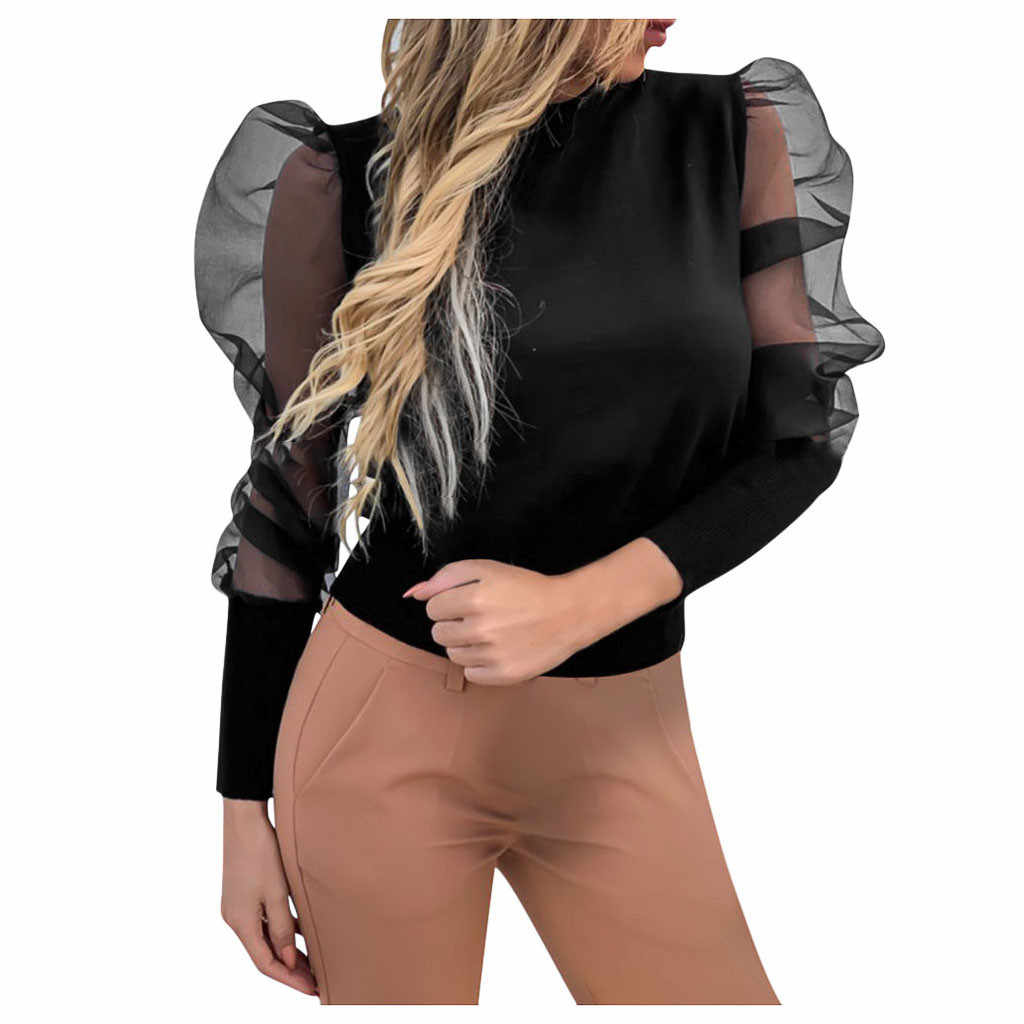 2019 Mode Mesh Blouse Puff Mouwen Vrouwen Sexy Sheer Stip Organza Blouse Top Perspectief Blusas Vrouwen Shirt Party Clubwear