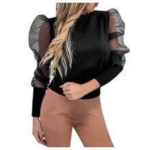 2019 Fashion Mesh Blouse Puff Sleeve Women Sexy Sheer Polka Dot Organza