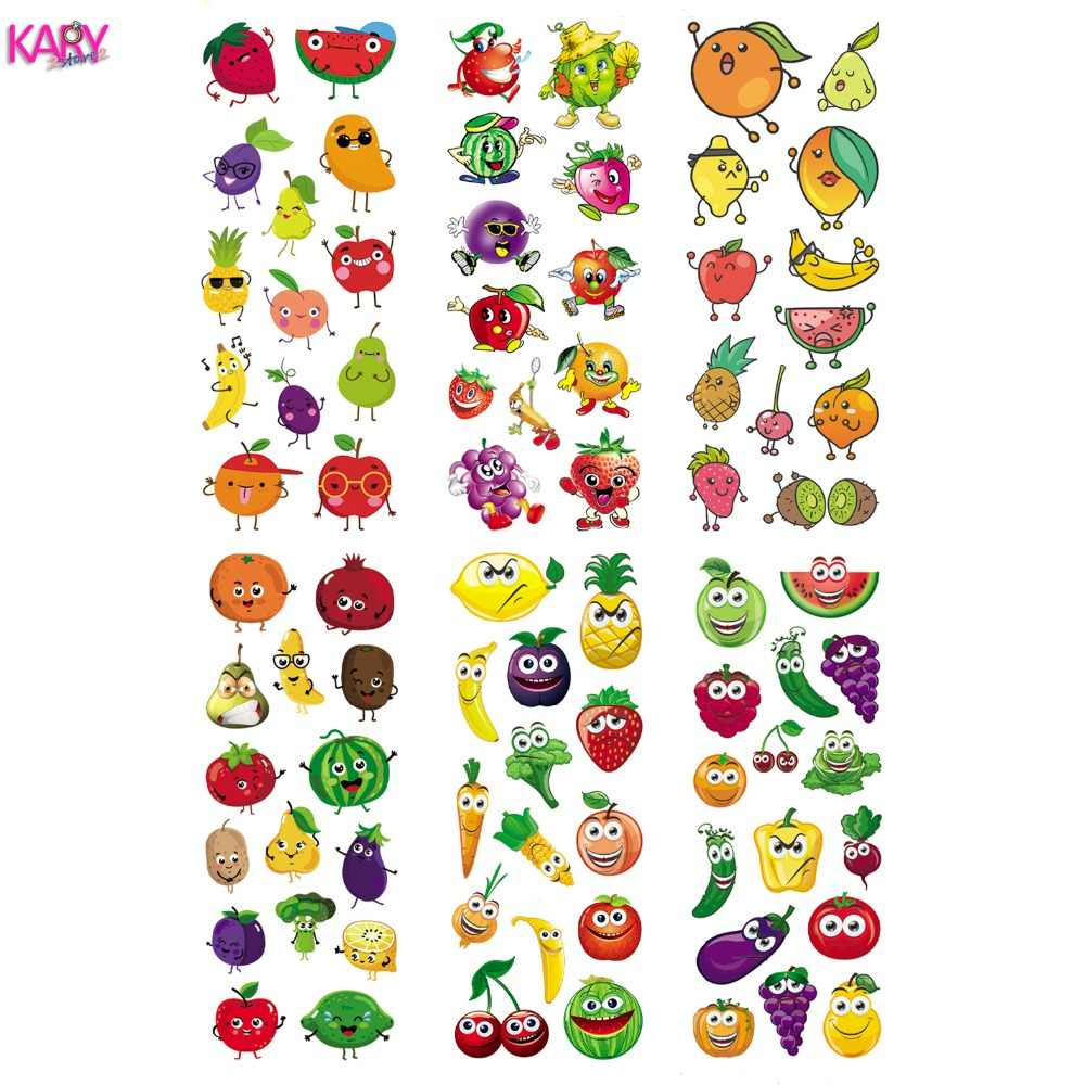 6 Sheets Cute Smile Face Fruits Fruitage Cartoon Scrapbooking Bubble Stickers Gifts Reward Kids Gift Toys Factory Direct Sales