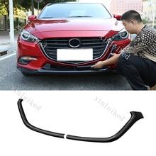 Parachoques delantero ABS negro para coche, marco de rejilla, cubierta tipo moldura embellecedora para Mazda 3 Axela 2013 2018, 2 uds.