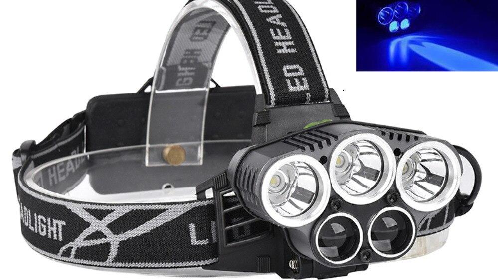 USB 15000лм 5 светодиодный налобный фонарь 3 * Новый XML T6 + 2Q5 белый + синий светильник налобный светильник вспышка светильник фонарь для рыбалки