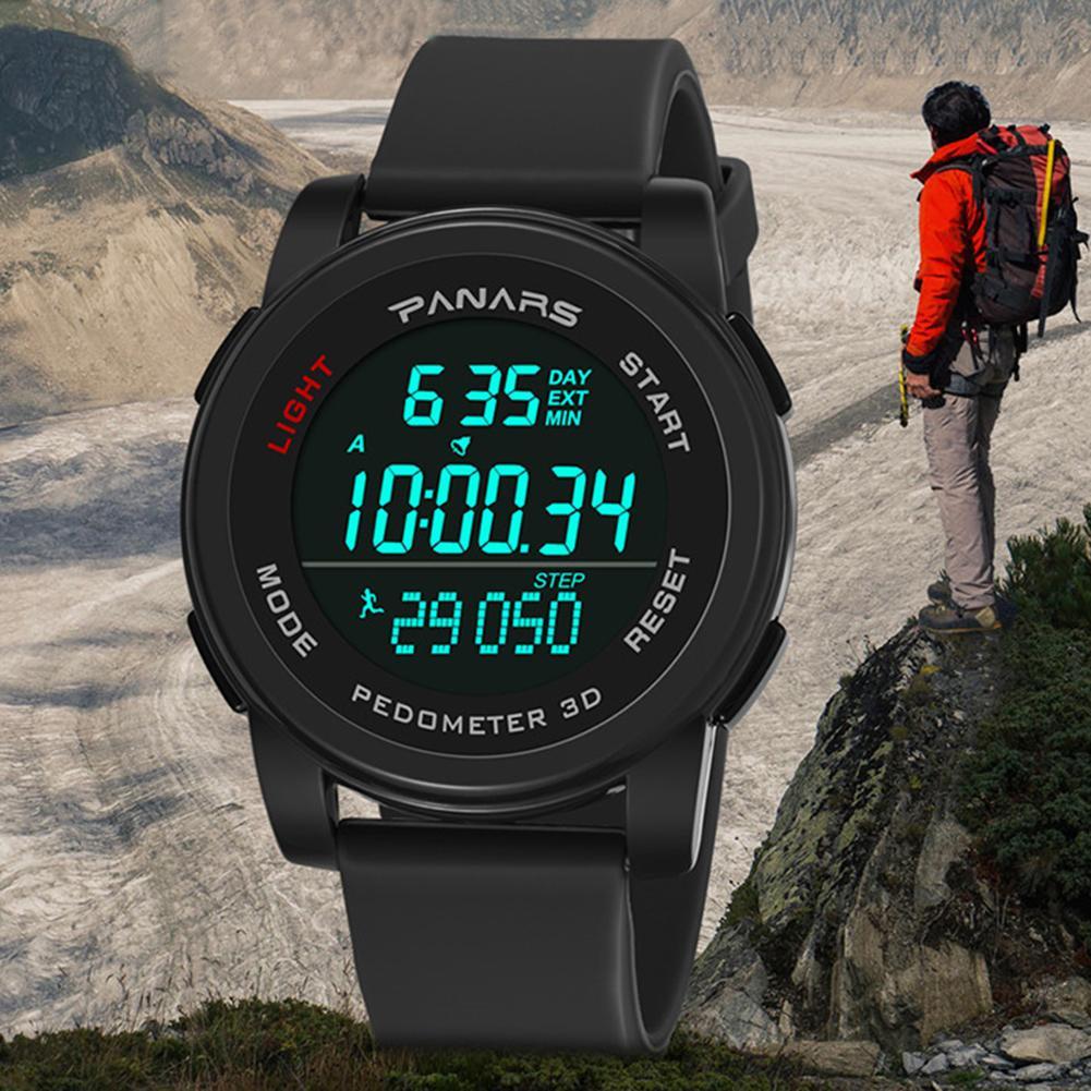 Outdoor Waterproof Sport Step Count Backlight Round Dial Digital Men Wrist Watch Mas-culino Fashion Men's Watch Large Dial Milit