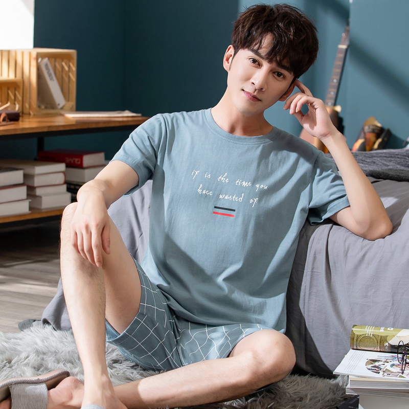 Men pyjamas summer Short Sleeved Cotton Solid T-shirt+Plaid Shorts Pajamas Set Casual Sleepwear Night Suits Pijamas Plus Size