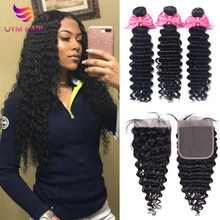 Deep Wave Bundles With 4x4 Closure Human Hair Bundles With Closure Remy Brazilian Hair Weave Bundles(China)