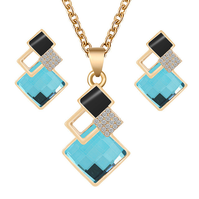 2020 Fashion Crystal Pendants Necklace Earrings Sets for Women Jewelry Set Bridal Wedding Earring Necklace Set 5