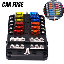 Car Fuse Box Holder With LED Indicator Light&M5 Stud For Car/Ship/Yacht Modification