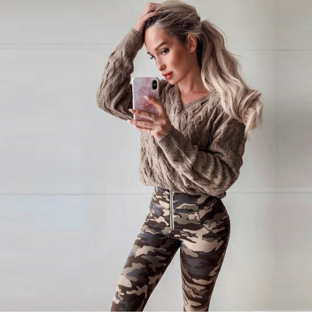 Mélodie usure shapewear femmes scrunch leggings taille haute leggings pantalon camouflage cellulite minceur leggings