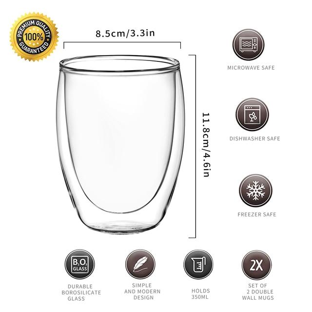 2/4/6/8-pièce 350ML Double paroi Thermo isolé café café thé verre tasse résistant à la chaleur bière café verres tasses ensemble de tasses