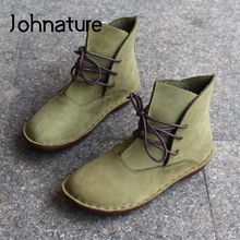 Johnature Lace-Up Shoes Women Boots Genuine Leather 2021 New Vintage Round Toe Flat With Handmade Spring/Autumn Platform Boots
