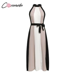 Image 2 - Conmoto Women Casual Patchwork Loose Long Holiday Beach Dress Female Halter Sleeveless Sashes Dress Ladies Plus Size Vestidos