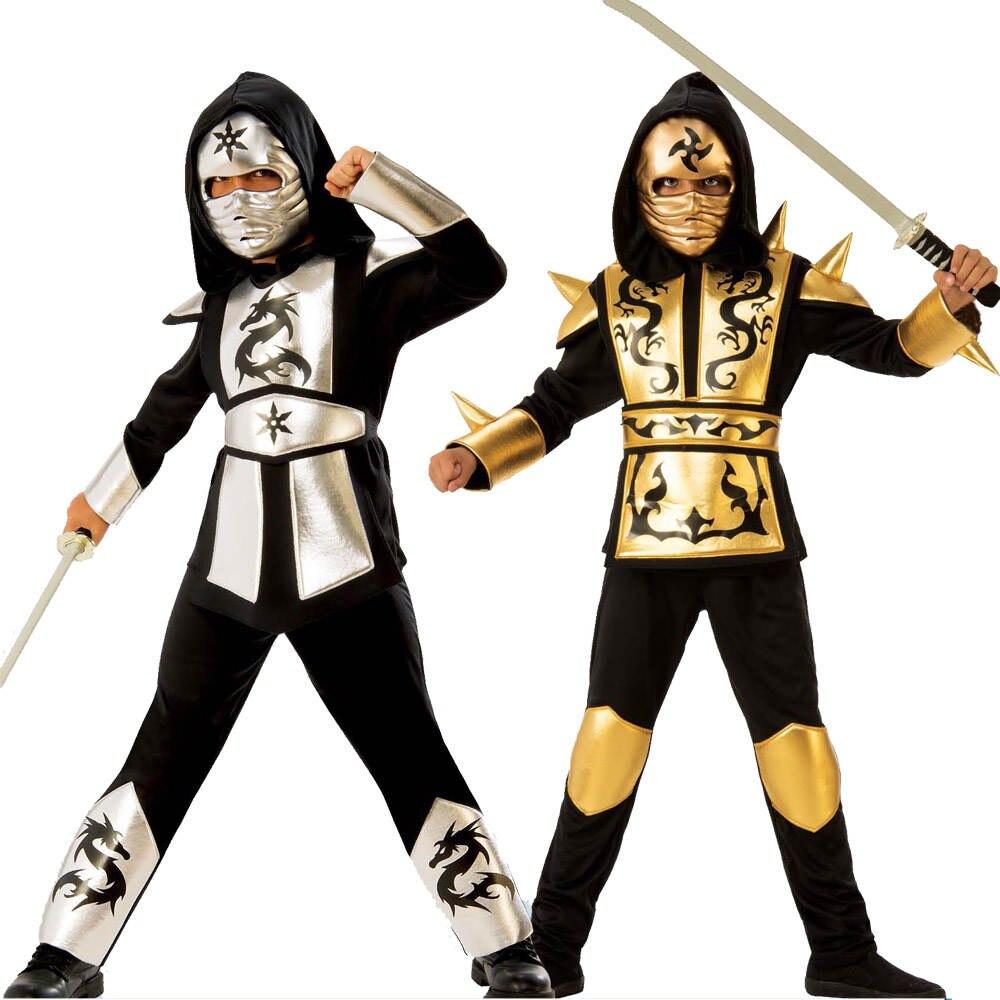 Belt Pants Shirt Mask Hooded Ninja-Costume Gold Kids with Sliver