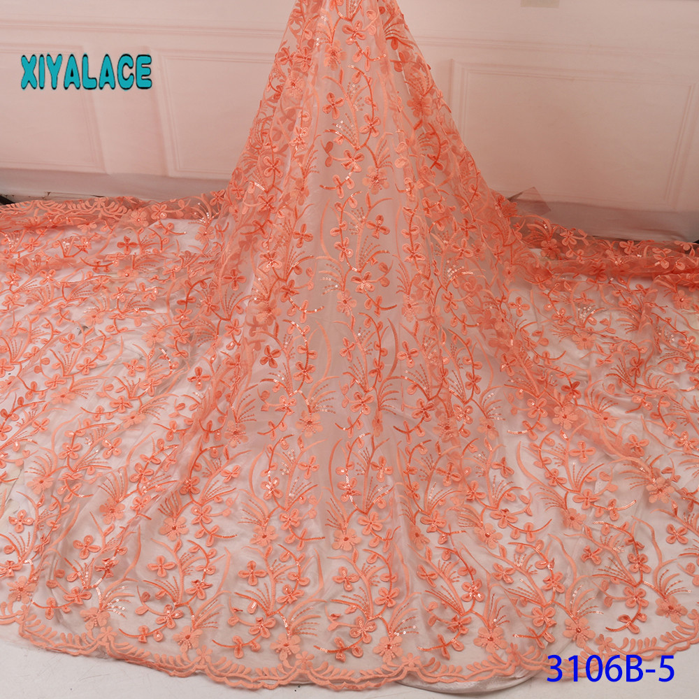 BEAUTIFICAL 3d Lace Flowers Latest Nigerian Lace Styles French Party Lace Fabrics 5 Yards 2019 Tulle Fabric 3d YA3106B-5