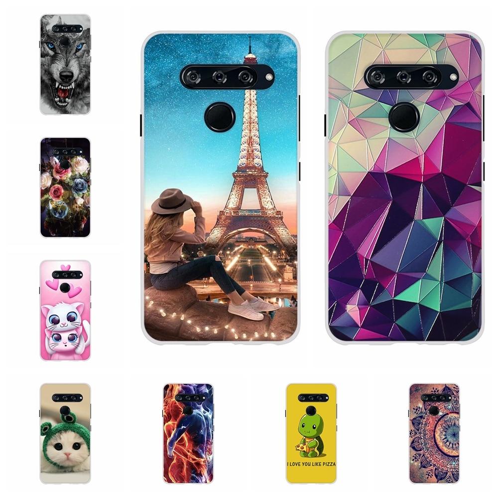 For LG V40 ThinQ Case Soft TPU Silicone V405QA7 V405UA Cover Cute Candy Patterned Bumper Shell