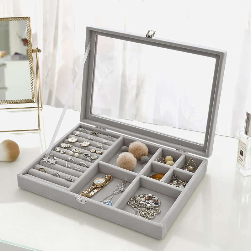 Velvet Glass Ring Earring Jewelry Display Organizer Box Tray Holder Storage Case