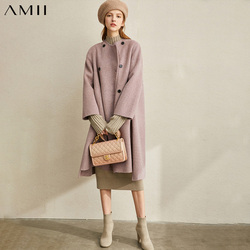 Amii Winter Women Fashion Wool Jackets Elegant Solid Turn Down Collar Coat Female Warm Blends 11920301