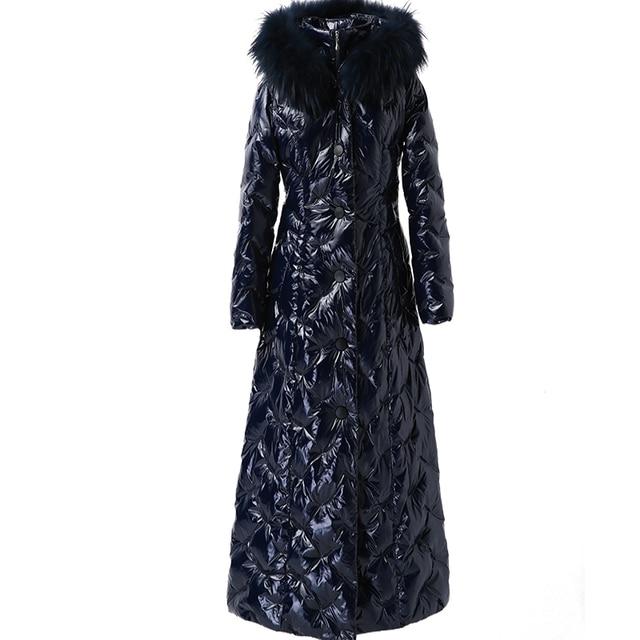Пуховик женский длинный Зимний толстый на белом утином пуху с капюшоном 2020 пуховик большой синий меховой воротник