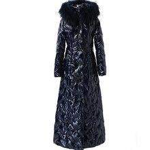 Aşağı ceket kadın uzun kış 2020 kalın kapşonlu beyaz ördek aşağı ceket büyük mavi kürk yaka