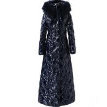 Unten jacke weibliche lange winter 2020 starke mit kapuze weiße ente unten jacke große blau pelz kragen