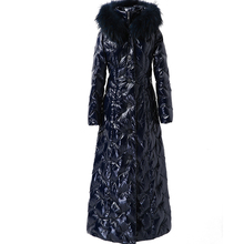 down jacket female long winter 2020 thick hooded white duck down jacket large blue fur collar