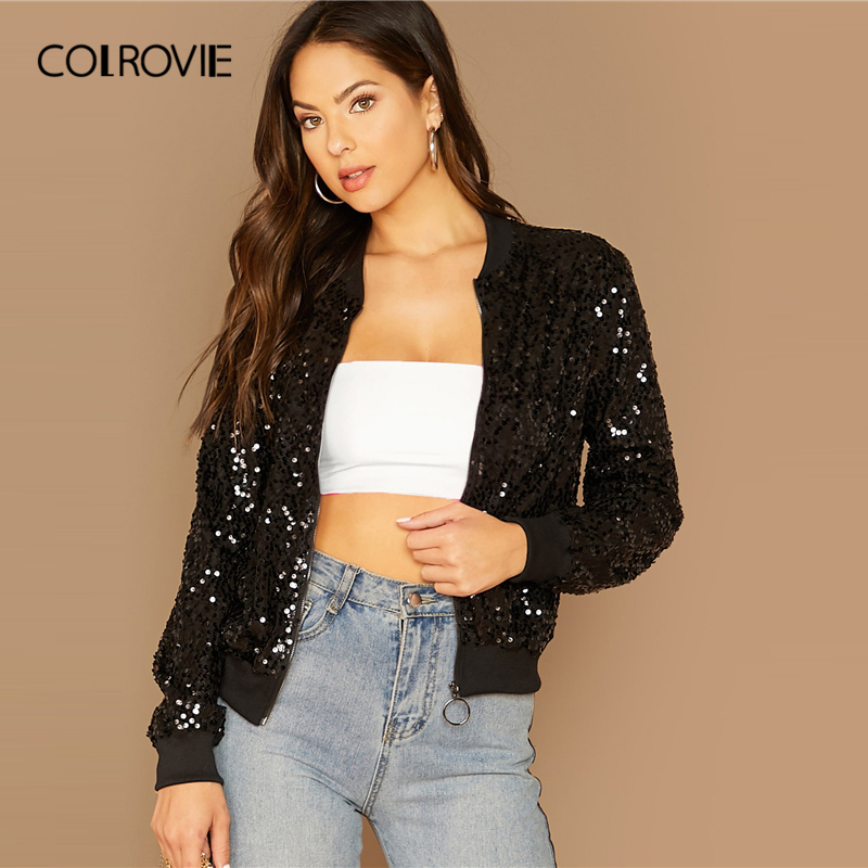 COLROVIE Black Zipper Front Sequin <font><b>Bomber</b></font> <font><b>Jacket</b></font> Women 2019 Fall Streetwear <font><b>Ladies</b></font> Coats And <font><b>Jackets</b></font> Casual Glamorous Outerwear image