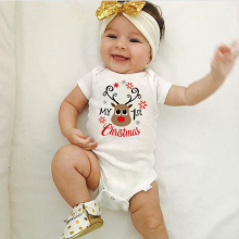 Мой первый Рождественский комбинезон для малышей; костюмы для младенцев; вечерние платья для новорожденных; хлопковые детские комбинезоны; Забавный игровой костюм с коротким рукавом