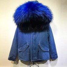 Популярная парка Мужская короткая темно-синяя джинсовая Меховая куртка с синим воротником из натурального меха енота