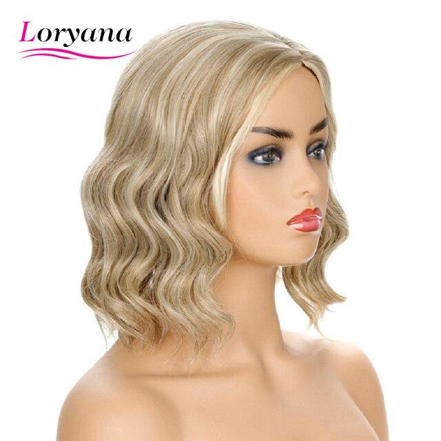 Loryana, peluca disponible mezclada de Color marrón Rubio claro, pelo sintético de onda corta de agua para mujeres, fibra resistente al calor