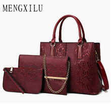 3 Pcs Women Handbag New Crocodile Patent Leather Composite Bag New High Quality Female Shoulder Bag Clutch Purse Messenger Bags стоимость