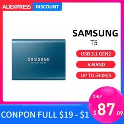 Samsung T5 портативный SSD 1 ТБ 2 ТБ 250GB 500GB Тип c внешний портативный жесткий диск USB 3,1 hdd 1 ТБ для ноутбука Mac pc система
