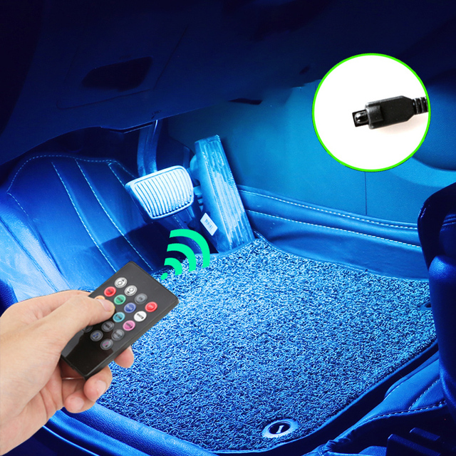 Led Car Foot Ambient Light With USB Cigarette Lighter Backlight Music Control App RGB Auto Interior Decorative Atmosphere Lights 2