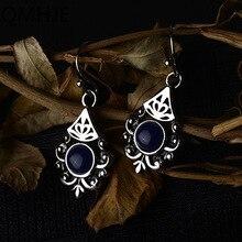 Boho, Круглый Королевский камень, женские маленькие Висячие серьги, выдалбливают цветок, серьги, этнические винтажные индийские ювелирные изделия, серебряный цвет, DBE048