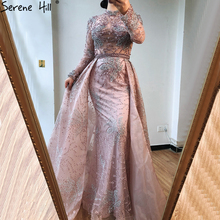 Formal-Dress Evening-Dresses Serene Hill Mermaid Crystal Long-Sleeves LA70582 Pink Sparkle