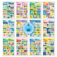 480 месячная наклейка для планировщика для тетрадей пуля журнал поставок канцелярские изделия стикеры Скрапбукинг на вкладки наклейки