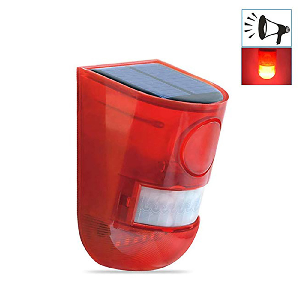 Solar Sound Alert Flash Warning Sound LED Light Alarm Motion Sensor 110db Siren Strobe Security Alarm System For Farm 1PC