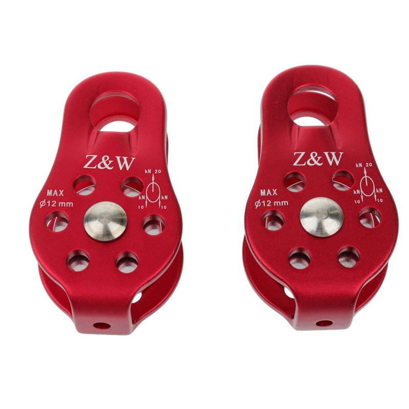 Top-2 Pcs Rock Pulley Rope Tree Climbing Climber Arborist Fixed Pulley Red