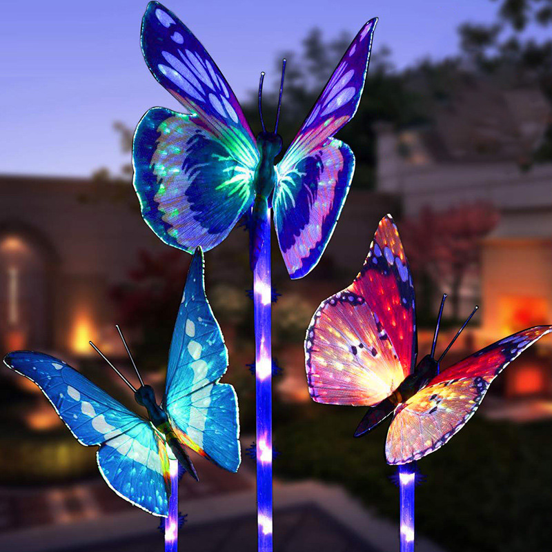 Garden Butterfly Solar Lights 7 Color-Changing Outdoor Patio IP65 Christmas Light Sensor Backyard Pathway Decoration Yard Lamp