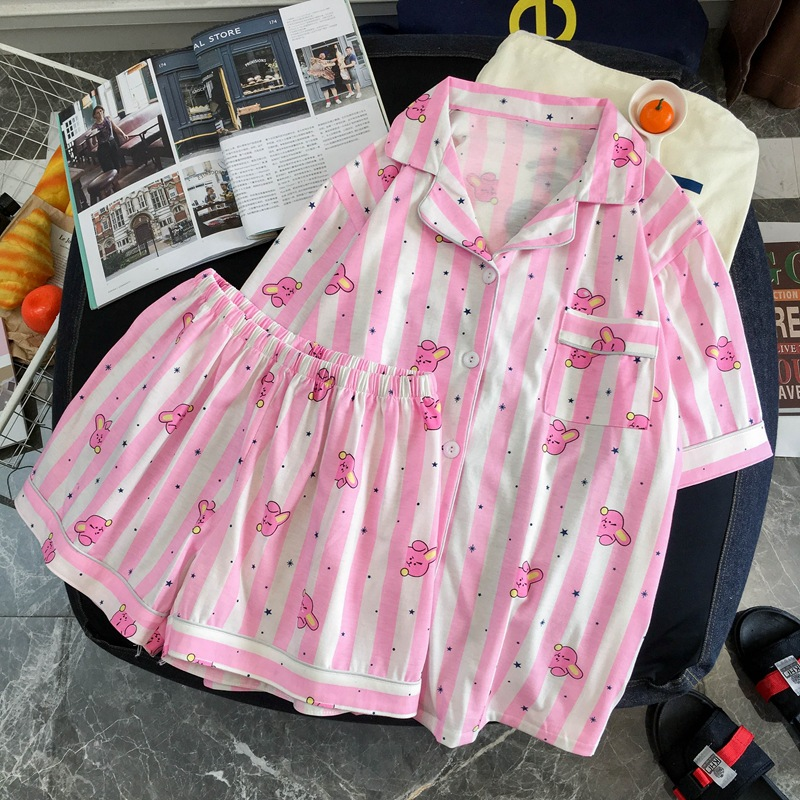 Women Pajamas Cotton Korean Style Sleepwear Harajuku Cute Stripes Rabbit Hearts Mouse Dogs Printed Pyjamas Shirts And Pants Sets