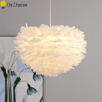 Modern Nature Goose Feather Pendant Lights Romantic White Pendant Lamp Home Decor Bedroom Living Room Kitchen Hanglamp Luminaria