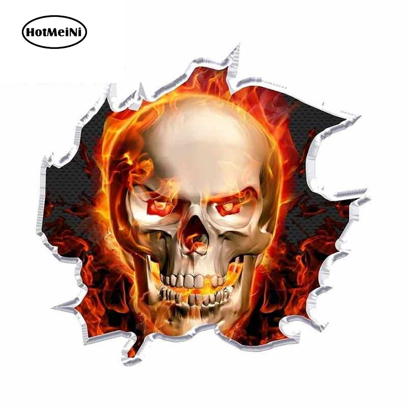 HotMeiNi 13cm x 12.5cm For Ripped Flaming Skull Race Car Stickers Decals Suitable For VAN occlusion Scratch Graffiti Sticker