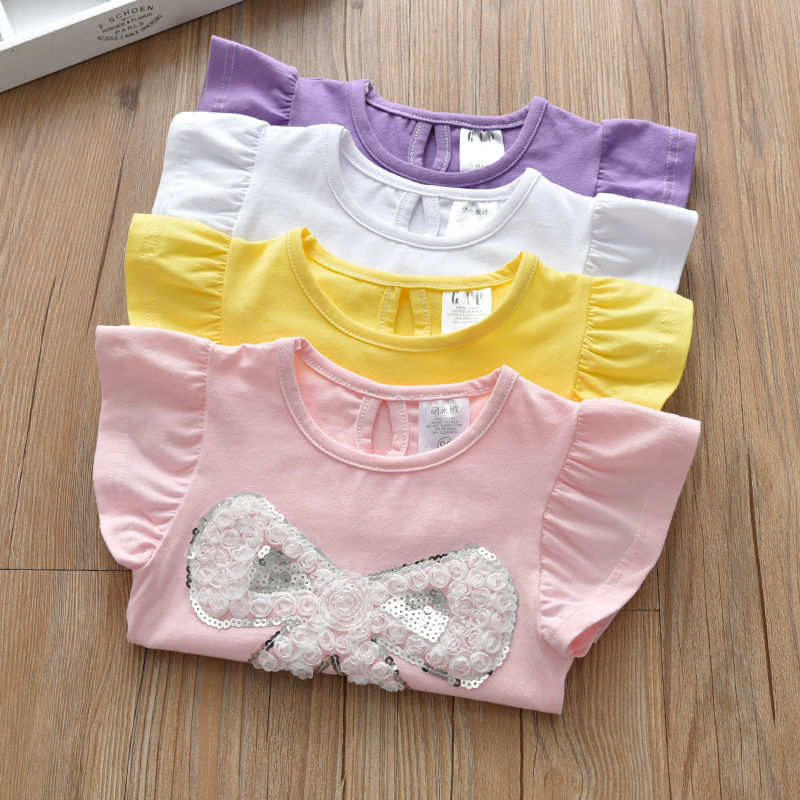 VIDMID Summer Fashion  T-shirt Children Girls Short Sleeves  Tees Baby Kids Cotton Tops For Girls Clothes 1- 7Y  P1054 4