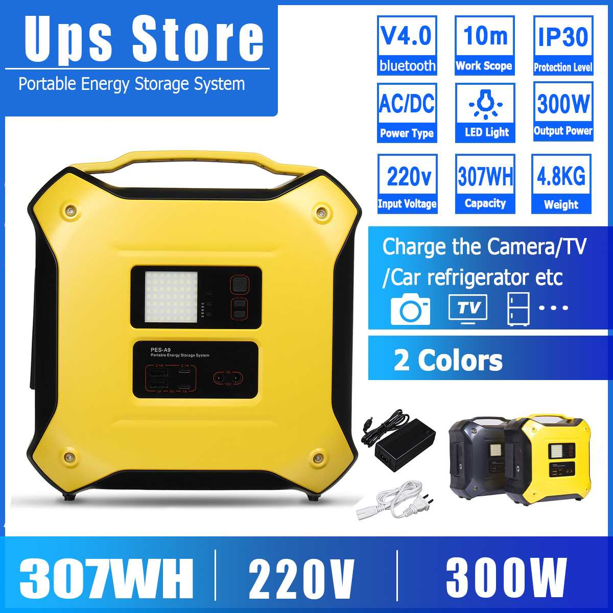 300W 307Wh bluetooth 4.0 Inverter Portable Solar Generator UPS AC DC Power Supply Dual USB Energy Storage System Outdoor 220V