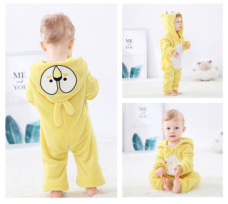 H994cb1a43d644f7d8cbf617f4da09f0bY Cute Cartoon Flannel Baby Rompers Novelty Rabbit Cotton Baby Boys Girls Animal Rompers Stitch Baby's Sets kigurumi New born 2019